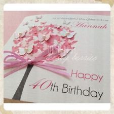 ♥Gorgeous Pink ButterflyTree HandmadePersonalised Birthday Card 30th40th50th♥