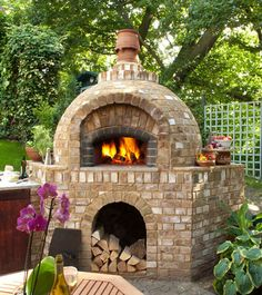 Residential brick finished oven.