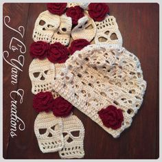 A personal favorite from my Etsy shop https://www.etsy.com/listing/247507464/crocheted-skull-slouchy-hat-and-scarf