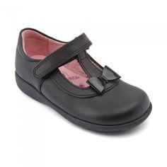 Size 7 Brand New Flower Detailing Black School Shoes Girls
