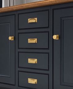 Kitchen Confidential - Bespoke Family Kitchen in Blackheath, London with Brass Kitchen Handles. Navy Kitchen, Kitchen Cabinet Design, Kitchen Cabinet Pulls, Kitchen Hardware, Kitchen Confidential, Cabinet, Bronze Kitchen, Kitchen Handles, Navy Kitchen Cabinets