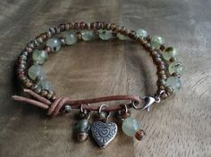 17cm wrist,Prehnite bohemian bracelet, boho bracelet womens jewelry gift for her rustic bracelet beaded bracelet gemstone bracelet Valentine by Thebohoflow on Etsy