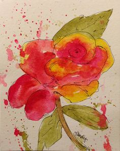 "Pink Rose Original 4""x5"" Watercolor and Ink Painting by Tandy. $35.00, via Etsy."