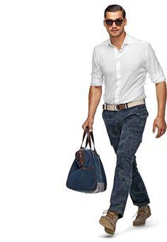 Blue Camo Cargo Trousers B297i | Suitsupply