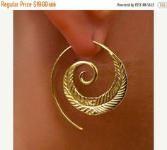 ON SALE 15% OFF Brass Earrings Brass Spiral Earrings by RONIBIZA