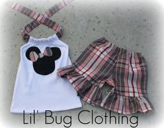 Custom Boutique Plaid Minnie Mouse Short and by LilBugsClothing, $29.99