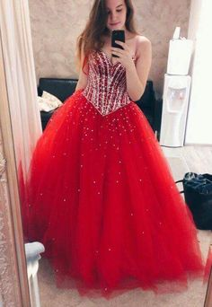 Vivid Red Tulle Sequin Prom Dress