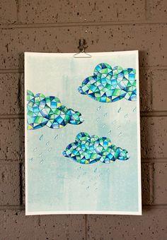 Raincloud Raindrop Rain Cloud Illustration Art Print - on SALE Cloud Illustration, Simple Illustration, Cloud Tattoo, Artist Card, Cloud Art, Rain Clouds, Zentangle Patterns, Body Painting, Art Projects