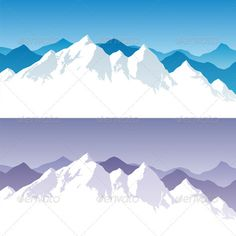 Mountain Graphics | Background with snowy mountain range in 2 color versions. You can ...