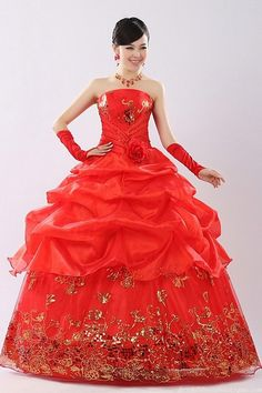 Fashion Ball Gown Strapless Embroidery Billowy Red Quinceanera Dress