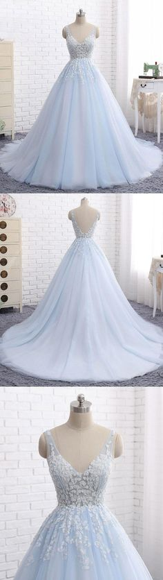 Elegant Ball Gown V-Neck Blue Tulle Long Prom/Evening Dress with Appliques,219
