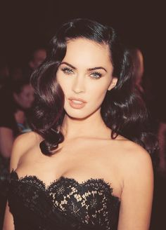 Megan Fox my official celebrity girl crush does this old Hollywood glamour hairstyle so well. Her face is so intriguing She is the most beautiful women in the world People Magazine