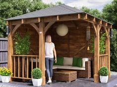 Awning Gazebo, Gazebo On Deck, Backyard Gazebo, Corner Pergola, Backyard Seating, Wooden Garden Gazebo, Backyard Pavilion, Corner Bench, Garden Seating