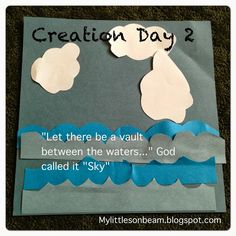My Little Sonbeam: September Week 3- Bible memory verse, song, Bible activity and craft ideas for Creation Day 2. God created sky on the second day. Homeschool preschool learning activities for 2,3,4 year olds. Mylittlesonbeam.blogspot.com  Follow My Little Sonbeam on Facebook