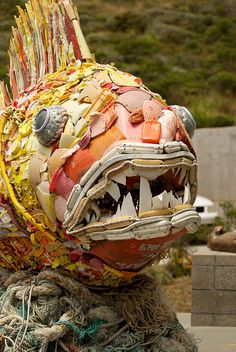Marine Mammal Center - fish sculpture made from items that were washed ashore.