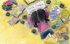 illustration : ) A girl and her books. <3