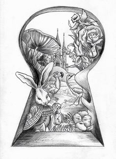 New Drawing Tattoo Sketches Alice In Wonderland Ideas Hipster Drawings, Unique Drawings, Disney Drawings, Easy Drawings, Pencil Drawings, Tattoo Sketches, Tattoo Drawings, Drawing Sketches, Drawing Ideas
