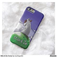 Milo & Ze Cover Barely There iPhone 6 Case Merchandise featuring our award winning bull terrier puppy Milo, from the illustrated children's book 'Milo & Ze: A Tale of Friendship'. The bull terrier dog is a favorite dog breed and Milo is one of the most popular pit bull terriers EVER!