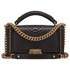 Chanel Black Python Medium Boy Bag with Handle 1