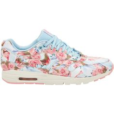 Nike Light Blue Paris City Collection Air Max 1 Ultra Trainers ($210) ❤ liked on Polyvore featuring shoes, sneakers, nike, leather shoes, lace up sneakers, floral print sneakers, flower print shoes and light blue sneakers