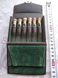 Glass Case Tアンティークガラス瓶6本セットケース付き インテリア 雑貨 家具 Antique ¥1800yen 〆08月10日