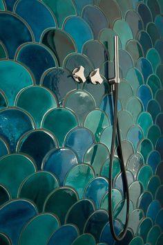 Tuile de l'échelle - vert craquelé/émeraude de carreaux de céramique - mix 1 mètre carrés de couleur plus pâle et la couleur intense - turquoise