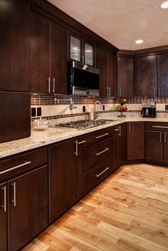 Find Out More On Beautiful Kitchen Cabinets DIY – Gray Espresso Kitchen Cabinets Espresso Kitchen Cabinets, Refacing Kitchen Cabinets, Modern Kitchen Cabinets, Kitchen Countertops, Dark Cabinets, Kitchen Backsplash, Kitchen Room Design, Kitchen Cabinet Design, Kitchen Interior