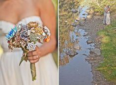 Wedding Bouquet made out of brooches...genius! Why would anyone use real flowers after this