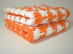 Orange and White Hand Crocheted Dishcloths  Set of 2 by tonebelle, $6.00