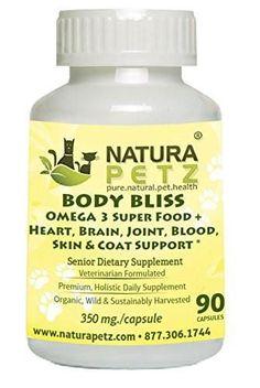 Natura Petz Organics Body Bliss OMEGA 3 Super Food + Heart/Brain/Joint/Blood/Skin & Coat Formula for Senior Pet