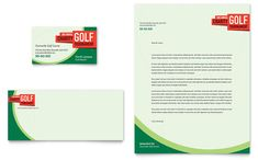 Golf Tournament Business Card and Letterhead Design Template by StockLayouts