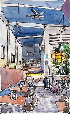 Broun Café at North Canal Road, Singapore, by Paul Wang Sketchbook Inspiration, Art Sketchbook, Watercolor Architecture, Interior Sketch, Interior Design, Pen And Watercolor, Urban Sketchers, Drawing Sketches, Drawings