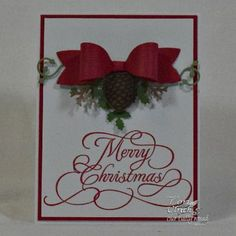 Our Daily Bread Designs Stamp: Flourished Merry Christmas, Our Daily Bread Designs Custom Dies: Medium Bow, Pinecones, Lovely Leaves
