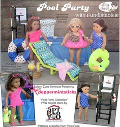 Doll Tag Clothing Fun-flatable Pool Rafts Doll Accessory Pattern 18 inch American Girl Dolls | Pixie Faire