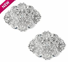 Caroline Shoe Clips  Vintage inspired shoe clips with intricate crystals set on silver metal filigree setting, these shoe clips will jazz up your look from head to toe. Versatile and affordable, these shoe clips add an elegant flair to your bridal or evening look.