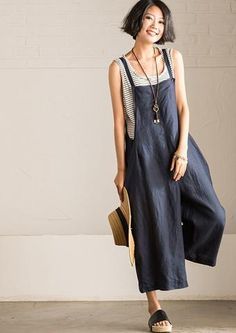 Causal Cotton Linen Overalls Jumpsuit for Women Clothes