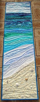 seascape table runner - love the quilting...maybe cousin rochelle will quilt this for me???