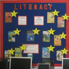 Interactive Literacy display: lift the star to see which child likes each book.