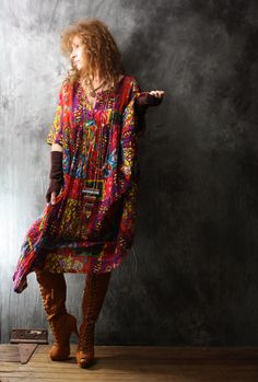 Vintage Dress 1980s India Cotton Bohemian Gypsy Colorful Patchwork Dress