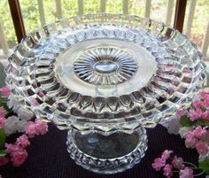 EAPG ANTIQUE GLASS PEDESTAL CAKE STAND PLATE . PITTSBURGH PATTERN