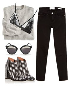 """""""Black & Oatmeal"""" by cherieaustin ❤ liked on Polyvore featuring Frame Denim, Pollini, Fleur of England and D-ID"""