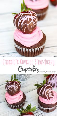 These Chocolate Covered Strawberry Cupcakes start with moist dark chocolate cake, filled with strawberry chocolate ganache and topped with strawberry frosting and a beautifully dipped strawberry. Strawberry Frosting, Strawberry Cupcakes, Fun Cupcakes, Strawberry Shortcake, Dark Chocolate Cakes, Chocolate Ganache, Chocolate Recipes, Chocolate Art, Easy No Bake Desserts