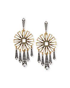 Daisy Floral Fringe Statement Earrings, Gold - Lulu Frost