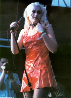 """Gwen Stefani live w/ No Doubt in 1990's///wearing the red dress she wears on the cover of """"Tragic Kingdom"""""""