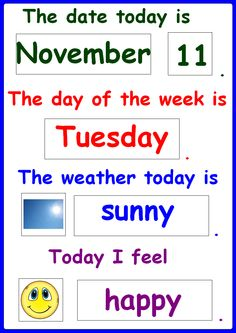 Daily Chart-Date, Month, Day, Weather and Mood, includes the 7 day of the week names, 12 months of the year, dates from 1st to 31st, 7 weather types and 7 mood types. For more resources follow https://www.pinterest.com/angelajuvic/autism-special-education-resources-angie-s-tpt-sto/