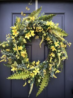 Spring Wreath Yellow Forsythia Wreath Fern Wreath New Home Gift Housewarming Gift Mothers Day Spring Door Wreaths Yellow Decor Gift Ideas Forsythia Wreath, Grapevine Wreath, Yellow Accents, Bright Yellow, Spring Door Wreaths, Mother Gifts, Mothers, New Home Gifts, How To Make Wreaths
