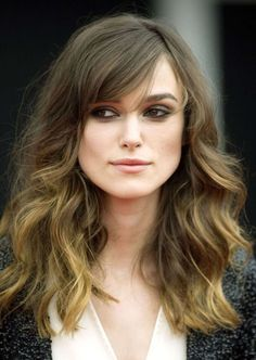 long wavy hair with bangs on square face - Google Search