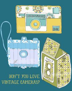 Vintage cameras sketch and collage.