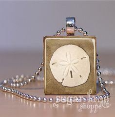Sand Dollar Scrabble Necklace  Scrabble Tile by SugarLaneShoppe, $6.95