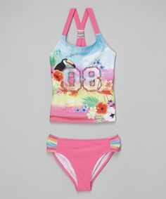 Another great find on #zulily! Pink Varsity '08' Jungle Tankini - Girls #zulilyfinds